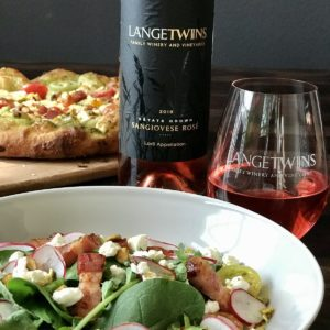 Pizza and salad paired with the Sangiovese Rose